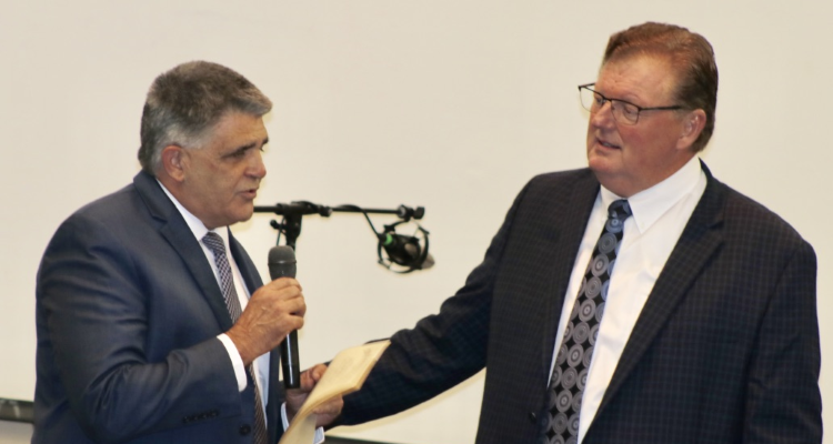 Jeff Sneed receives the citation declaring Southern Gospel Week