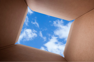 View of sky from inside box
