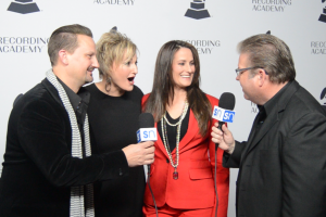 The Martins with Rick Francis on red carpet at Nashville Grammy nominees party
